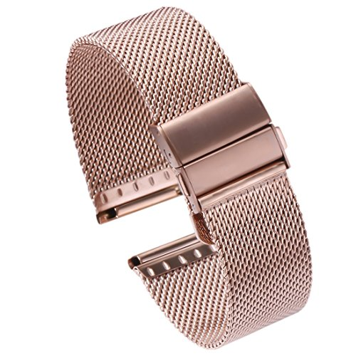 - 16mm Rose Gold Metal Mesh Watch Band Straps Bracelets High-End Solid Stainless Steel Folded Clasp