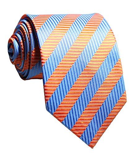 Secdtie Men's Classic Striped Orange Blue Jacquard Woven Silk Tie Formal Necktie, Orange, One Size