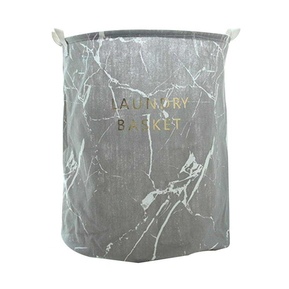 Wakerda Canvas Storage Basket - Large Storage Bin with Handles - Marble Pattern Storage Containers in Gray
