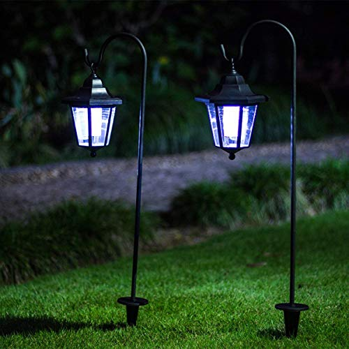 GIGALUMI 26 Inch Solar Lights Outdoor, Hanging Solar Coach Lantern with 2 Shepherd Hooks (2 Pack) -