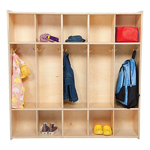 Sprogs Wooden Five-Section Locker Unit without Seat - Unassembled, (Five Section Locker)
