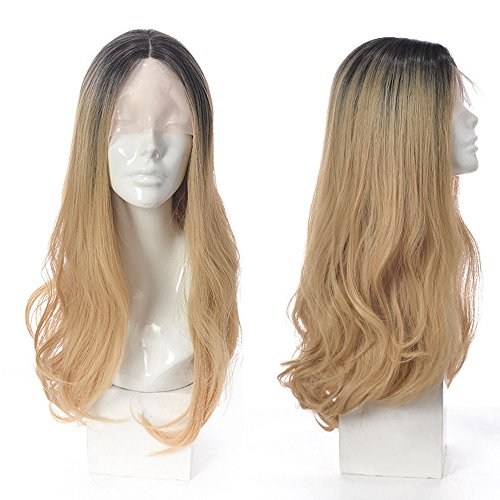 MOOI Ombre Blonde Synthetic Lace Front Wigs 2 Tone Color Black Roots Long Natural Wavy Heat Resistant Synthetic Hair Replacement 22 Inches -