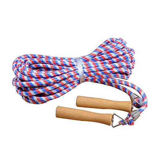 KUKOME Wooden Handle Skipping Rope/Jumping Ropes - Great for Gym, School, Group Jumping 10m (Blue)