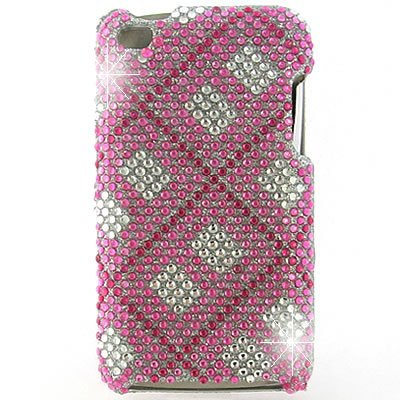 Crystal Hard Snap-on Shield With PINK CHECKERED PLAID Rhinestones Bling Bling Diamonds Design Faceplate Cover Sleeve Case for APPLE IPOD TOUCH 4G [WCC414]
