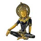 Gangesindia Seated Indra Dev Sculpture in Golden Black Finish