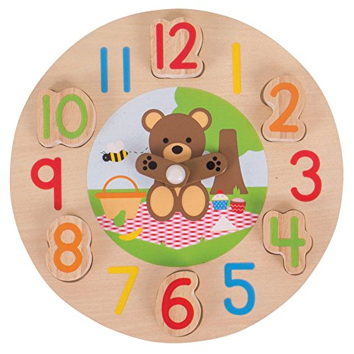 (Bigjigs Toys Wooden Teddy Bear Clock - Tell The Time, Multicolored)