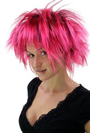 Peluca punki, años 80, negro y pink, carnaval. PW0078-P103PC41(