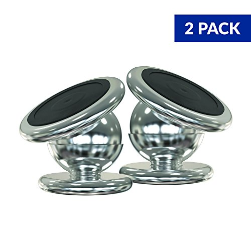 Pack of 2 Magnetic Phone Car Mount also for Truck, Taxis, Uber, Lift and Office / Magnet Holder for iPhone X 8 7 6, Samsung Galaxy Accessory/ Universal 360 Rotation Silver - By Mobile Bracket's