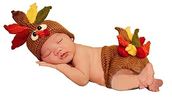 3fdb6564422c Pinbo Baby Photography Prop Cute Turkey Knitted Crochet Costume Hat Caps  Diaper Sc 1 St Amazon.com