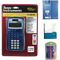 Blue Texas Instrument TI-30XIIS Scientific Calculator Bundled with 1 Pink One Subject Notebook, 1 Dual Grid Graph Paper Notebook and 1 Pack of Mechanical Pencils. Perfect for Math or Science Class.