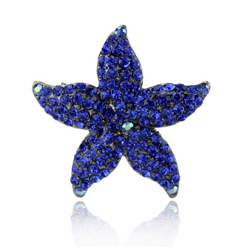 DoubleAccent Hair Jewelry Small Simulated Crystal Starfish Barrette, Blue (Crystal Bow Barrette)