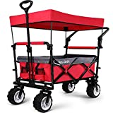 Folding Push Wagon Cart with canopy Collapsible Utility Camping Grocery Canvas Fabric Sturdy Portable Rolling Lightweight Buggies Outdoor Garden Sport Picnic Heavy Duty Shopping Cart Wide Wheels Red
