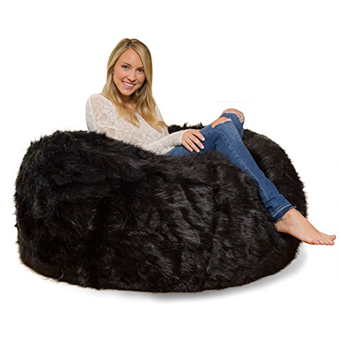 Comfy Sacks 4 ft Memory Foam Bean Bag Chair, Black Furry by Comfy Sacks