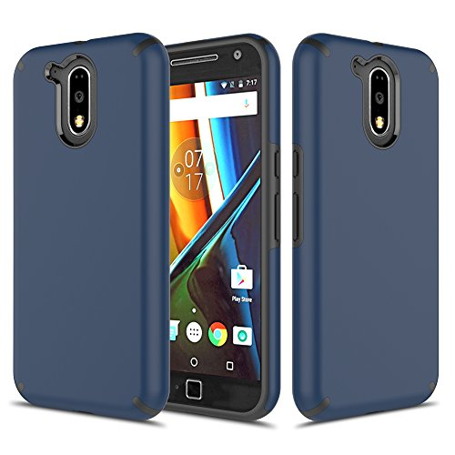 Moto G4 Case, Moto G4 Plus Case, TownShop Navy Blue Hard Rubber Impact Dual Layer Shockproof Silicone Bumper Case for Motorola Moto G4/ Motorola Moto G4 Plus