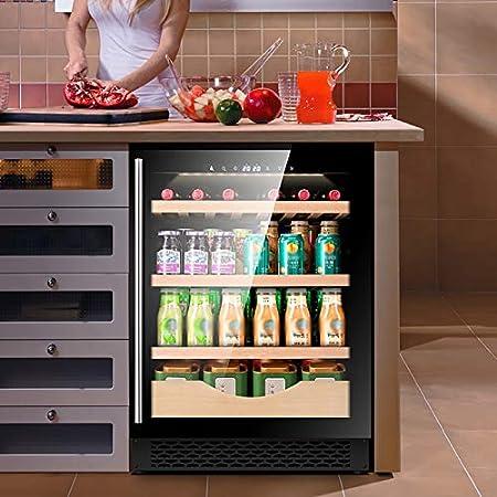 VIY 42 Botellas Nevera vinos vinoteca Capacidad de 127L Diseño Puerta Cristal Marco de Acero Inoxidable y estantes de Madera Panel táctil y Pantalla LED
