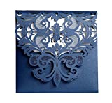 Laser Cut Wedding Invitation Card Custom Personalized Printing and Blank Page Envelope 5.9×5.9In 100Pcs