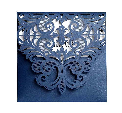 Laser Cut Wedding Invitation Card Custom Personalized Printing and Blank Page Envelope 5.9×5.9In 100Pcs by JXS-Wedding (Image #5)