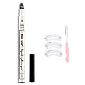 HSEE Eyebrow Tattoo Pen, Microblading Eyebrow Pen, Waterproof Eyebrow Pencil for Professional Makeup, Draws Natural Brow Hairs & Fills in Sparse Areas & Gaps, Lasting eye makeup, Black, 1 Count