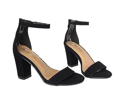 28124d82715 Top Moda Hannah 1 Womens Faux Suede Nubuck Block Heel Ankle Strap Pump  Sandals Black 5.5