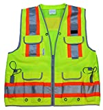 VERO1992 Reflective Vest Class 2 Heavy Woven Two Tone Engineer Hi Viz Yellow Safety Vest 3M 8712 Tape (Large, Yellow)