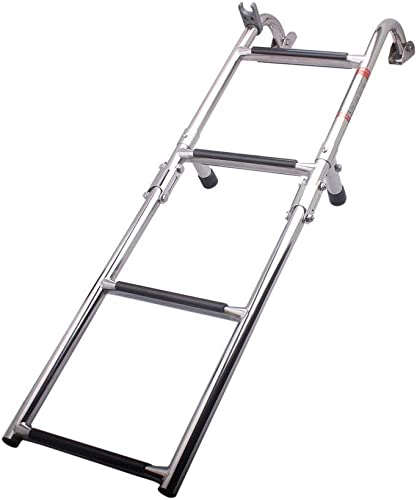 4-Step Folding Marine Pontoon Boat Ladder (Stainless Steel, Polished) [Hoffen] Picture