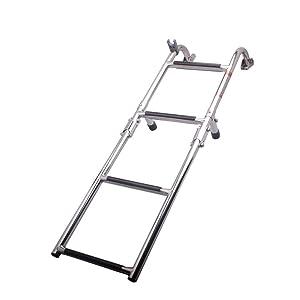 Hoffen 4 Step Folding Ladder Pontoon Ladder Marine Boat Stainless Steel Polished 2+2 Step