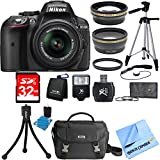 Nikon D5300 DX-Format DSLR Black w/ 18-55mm DX VR II Lens Deluxe Bundle includes AF-S NIKKOR 18-55mm Lens, 32GB Memory Card, Card Wallet, Mini Tripod, Tripod, Camera Bag, Filter Kit and Much More!