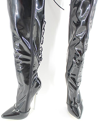 Wonderheel stiletto metal heel Lack fetisch lacing over-knee stiefel crotch boots