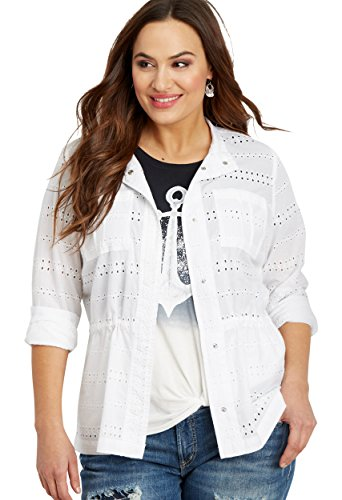 maurices Women's Plus Size Eyelet Jacket With Cinch Waist 3 White