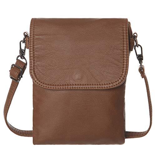 AOCINA Mini Crossbody Cell Phone Purse Credit Card Slots Small Crossbody Bag for Women(Brown)