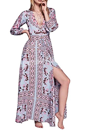 R.Vivimos Women's Retro Print V Neck Beach Maxi Dresses Large Light Blue