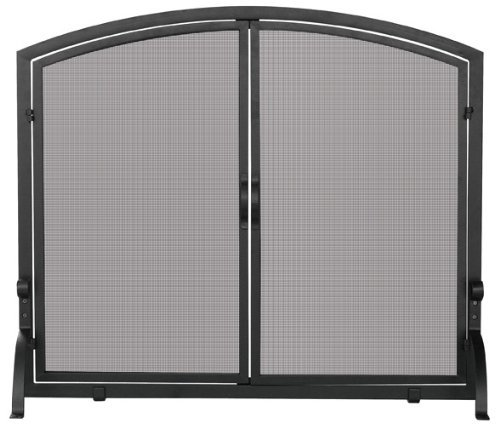 - Uniflame, S-1064, Large Single Panel Black Wrought Iron Screen with Doors by Uniflame