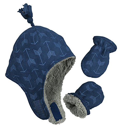 N'Ice Caps Little Boys and Baby Sherpa Lined Micro Fleece Pilot Hat Mitten Set (3 - 6 Months, Navy/Embossed Arrow Print Infant)