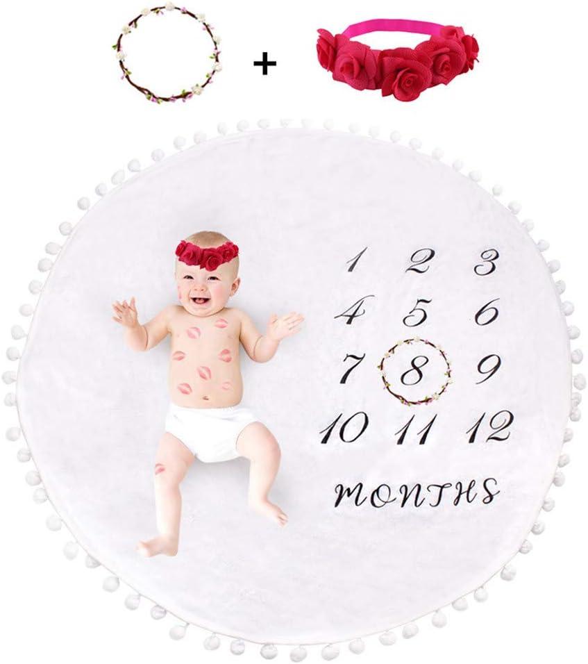 kinnter - Manta para bebé, diseño de hitos mensuales, para recién nacidos, para fotos de bebé, con anilla para el pelo y corona