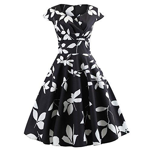 Gown Prom Aurora (Daoroka Women's Retro Vintage 1950s Style Cap Sleeve Swing Party Dress Ladies Fashion Cute Retro Floral Print V Neck Prom Swing Dress)
