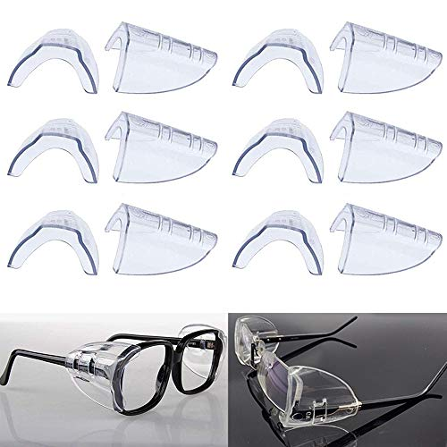 6 Pairs Eye Glasses Side Shields,Slip on Side Shields for Safety Glasses Fits Medium to Large Flexible Clear Universal