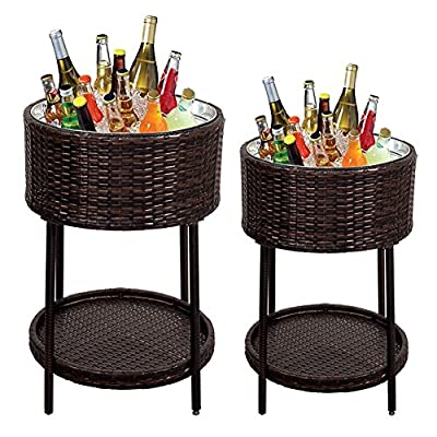Sundale Outdoor Patio Garden Deluxe Portable Ice Chest Wicker Beverage Cooler- 2pc Set