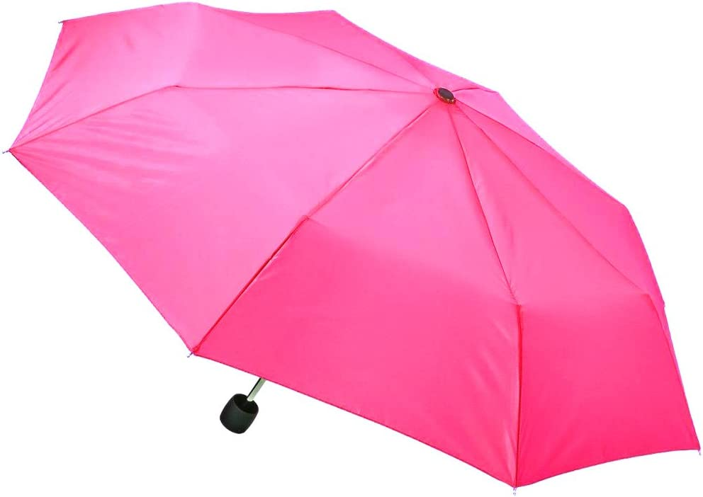 Totes Umbrella Mini Compact For Kids Adults 42 Coverage Manual Open with Clip Backpack, Purse, Stroller Size Pink