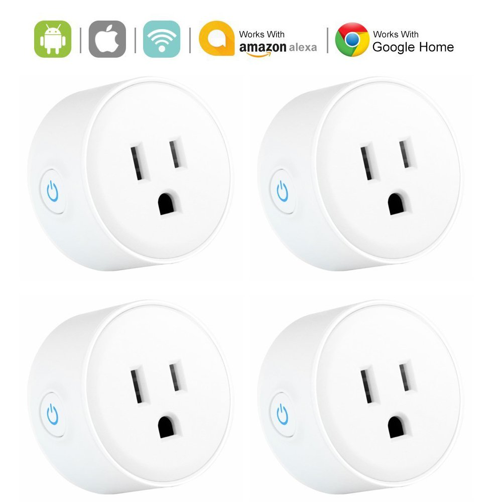4 PACK Smart Plug Outlet, WiFi Enabled Mini Smart Socket Works with Alexa Google Assistant, App Remote Control from Anywhere, Timing Function, Timer Switch, No Hub Required