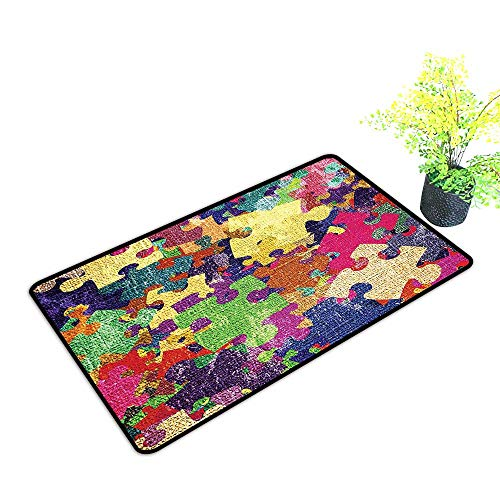 Large Outdoor Door Mats Illustration with Colorful Jigsaw Puzzles Stationery Artistic Design Print Fuchsia Use for Entrance Outside Doormat Patio W23 x H17 INCH