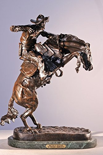 - Frederic Remington Solid Bronze Bronco Buster Statue Sculpture - Baby Size