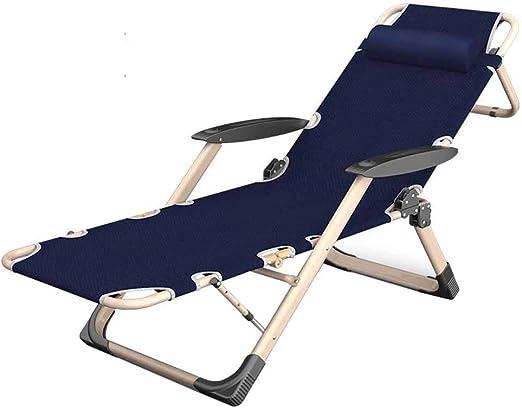 Sillón reclinable Plegable Sillas reclinables Ajustables Sillón Tumbona Cero Gravedad Sillas de jardín Jardín Playa Azul: Amazon.es: Hogar