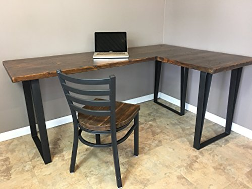 Modern Industry L Shape Reclaimed Wood Desk Custom Fabricated Black Steel Leg Base FREE SHIPPING - Black Steel Table Base