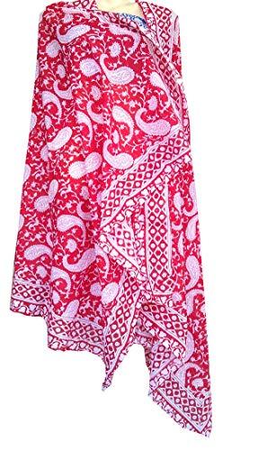 - Rastogi Handicrafts 100% Cotton Hand Block Print Sarong Womens Swimsuit Wrap Cover Up Long (73