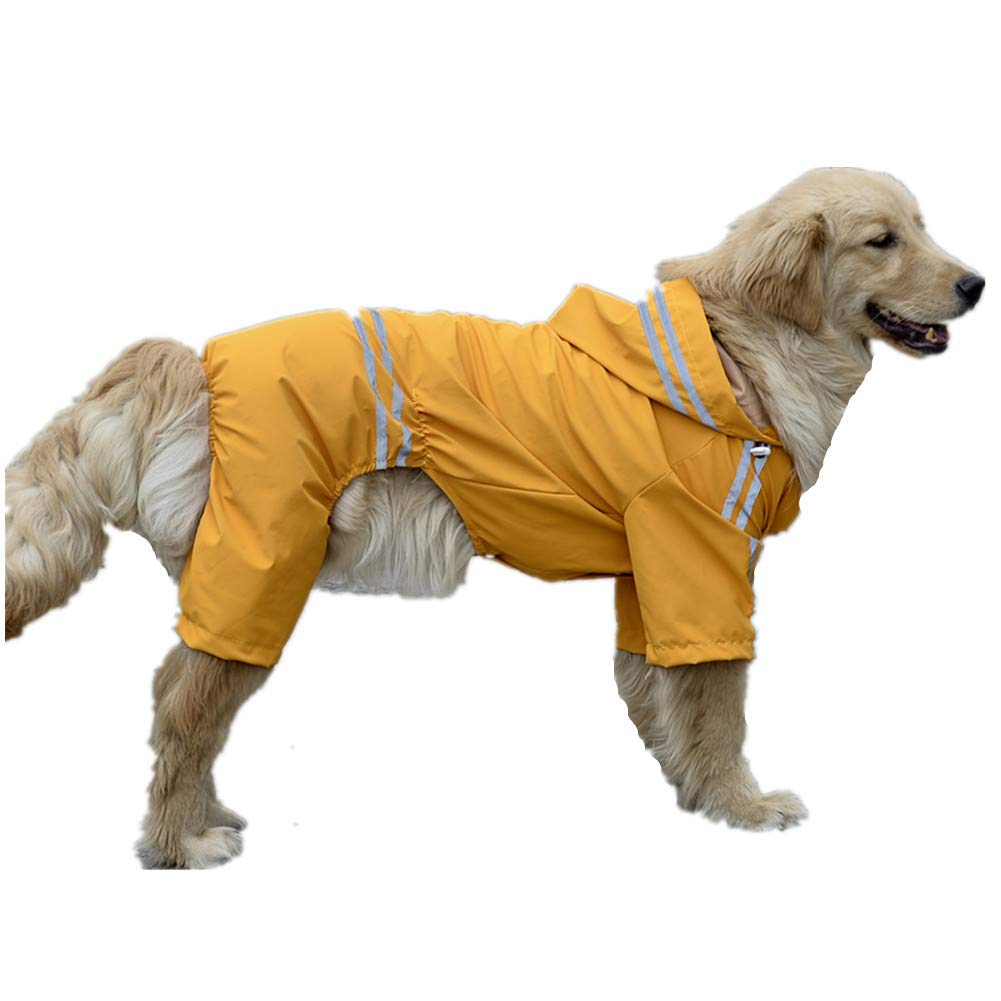 XXXXL Pet Dog Raincoat Collar Hole Waterproof Hooded Coat Reflective Striped Jacket Suitable for Small, Medium and Large Dogs Back Length 45-65cm