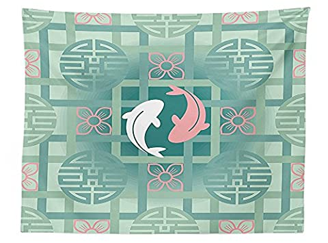vipsung Japanese Decor Tablecloth Dolphin Couple on Geometrical Featured Round and Squared Figures Backdrop Culture Work Dining Room Kitchen Rectangular Table (Squared Round Dining Room Table)