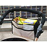 Yoolove Stroller Bag Baby Carriages Makeup Organizer Pouch Baby Jogger Pocket Pushchair Handbag Child Trailer Storage Sack for Outdoor Travel (Black)