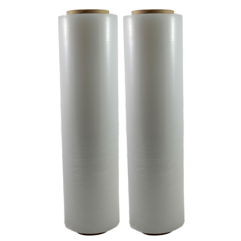 Oknuu 2-Rolls Pallet Wrap Stretch Wrap Film Plastic Clear - 18 Inch Long - 80 Gauge/20 Micron Thickness - 1500ft Length