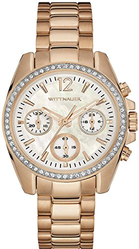 (Wittnauer Women's Gold Tone Steel Bracelet & Bracelet Quartz MOP Dial Chronograph Watch WN4073)