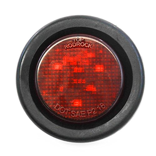 Red LED 2 Round Side Marker Light Kits with Grommet Truck Trailer RV